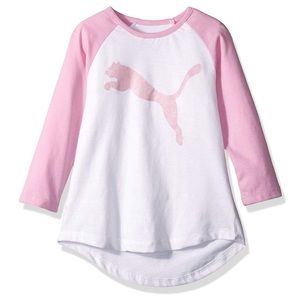 Puma Raglan Girls Shirt 5 Top Long Sleeve Pink NWT